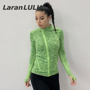 Shirt donna della palestra di sport Tees Zipper fitness Abbigliamento sportivo Top con fori per i pollici traspirante Activewear manica lunga allenamento Coat