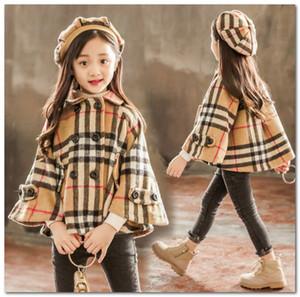 Meninas da manta de lã xale capas crianças lapela dupla bolso capas princesa outwear + chapéu 2pcs define as crianças de manga longa P0039 estrutura poncho