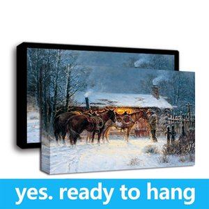 Framed Wall Art HD Canvas Print Oil Painting Western Cowboy Horse Winter Art Print on Canvas Home Decor - Ready To Hang - Framed