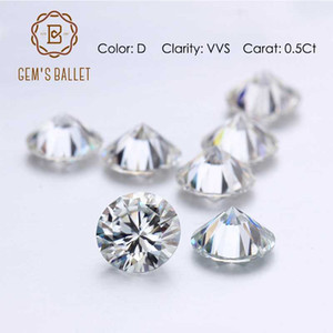 GEM'S BALLET 0.5Ct 5.0mm Round Moissanite Loose Gemstones D Color VVS Clarity Moissanite for Jewelry Making Fine Jewelry