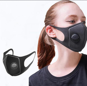 Respirare Valve mascherina mascherine nero spugna riutilizzabile lavabile antipolvere Inquinamento Bocca coprire il volto all'aperto maschere OOA7947