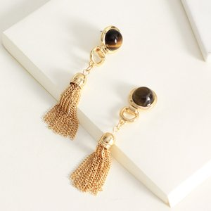 Long Tassel Earrings Natural Stone Dangle Gold Color Hanging Drop Earrings for Women Girls with Tigereye Boho Beach Wedding Party Jewelry