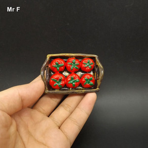 Exquisite Flat Back Resin Model Six Tomato On The Tray Fake Food Miniature Toy