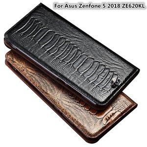 Pied d'autruche Texture Étui en cuir véritable Flip pour Asus Zenfone 5 2018 ZE620KL Cas de téléphone pour Asus Zenfone 5 2018 Porte-cartes de téléphone