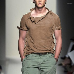 Solta Estilo Vintage Tops Mens Sólidos Irregular Cor Tshirts Fashion Designer Estilo manga curta Tees Mens