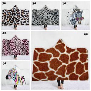 Coperta del grano del leopardo con cappuccio Coperte Zebra Stampato con cappuccio Cappotti bambino coperta calda Wrap tovagliolo Esterni Mantello per l'adulto VT0593