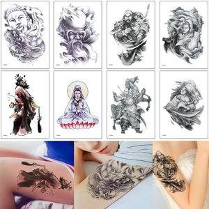 여성 남성 암 메이크업 도구에 대한 부처 문신 디자인 관우 나타 바디 아트 스티커 종 퀘 관세음 보살의 전통 인 임시 문신