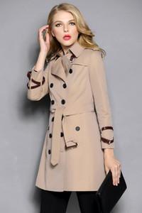 المرأة خندق معطف طويل الكلاسيكية سترة واقية للماء البريطانية الجديدة الراقية الطراز الإنجليزي خريف شتاء Gabadian اللون الصلبة C214 عارضة