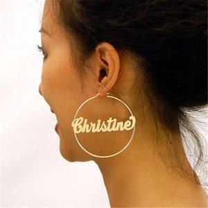 Boho Big Hoop ouro Custom Name 70MM Bohemian brincos para mulheres boucle d'oreille femme 2018 personalizado Stainless Steel Brincos