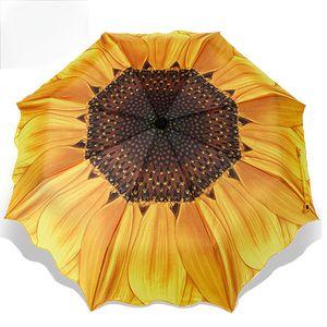 Мода Подсолнечника Pattern Три Складной Зонтик Женщины Мужчины Солнце / Пляж Дождя Зонтики Зонтик Бесплатная Доставка