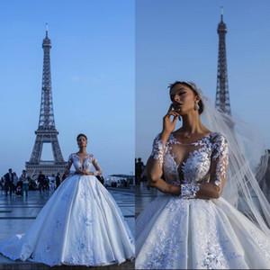 Luxo Marfim Vestidos De Casamento Rendas Vestido de Baile De Cetim Sheer Mangas Compridas Ilusão de Casamento De Volta Vestidos de Noiva Longo Tribunal Trem Dubai árabe