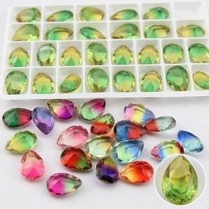 Luxury Crystal Loose Diamonds 13*18mm Sharp Bottom Water Drop Bottomless Natural Tourmaline Diamond Charms Designer Jewelry Accessories