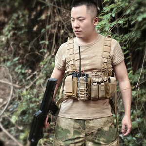 Hombres Mujeres Arnés Cofre Tactical Chest Rig Bag Radio Front Pack Pouch Holster Vest Rig Bag Ajustable Two Way Rad