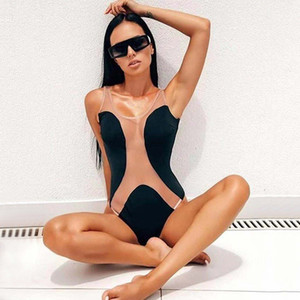 Sexy Sheer V Neck Swimwear Panelled Designer Womens Swimwears Fashion One Piece Swimwear Women Bathing Suit