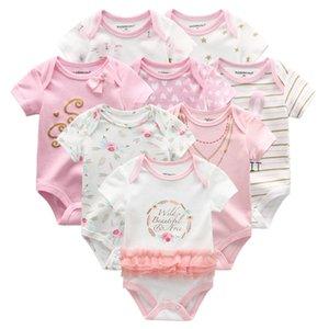 2019 8PCS / Lot Unisex Baby Boy Одежда Bodysuits девочек Одежда для новорожденных Unicorn хлопка Baby Girl Одежда Roupas де Бебе Новорожденные