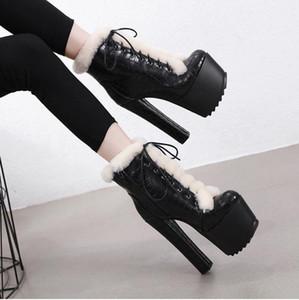 Kadınlar Bilek Kürk Boots 16cm Yüksek Topuklar Fetiş Striptizci Keçe Sıcak Kar Peluş Boots 7cm Platformu Blok Topuk Chunky Ayakkabı