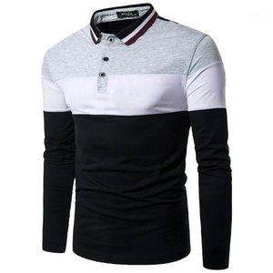 Düğmeler ile Yaka Boyun Nefes Mens Tees Casual Genç Kontrast Renk Mens Tasarımcısı Tshirt panelli Tops