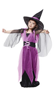 Shanghai Story Kids Halloween kids costumes + hat for girls witch purple children suit carnival lovely witch clothes