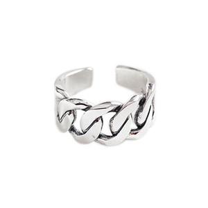 Модные ювелирные изделия стерлингового серебра 925 пробы ручной работы из цельного антикварного серебра, звено цепи классическое регулируемое кольцо для мужчин