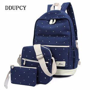 DDUPCY 3Pcs / set koreanische beiläufige Frauen-Rucksack Canvas Buch Taschen Adrette Art Schule Zurück Taschen für Teenager Composite-Rucksack