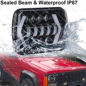 105W 5x7 7x6 Zoll Hohe Abblendlichtscheinwerfer für Jeep Wrangler YJ Cherokee XJ H6054 H5054 H6054LL 69822 6052 6053 mit Angel Eyes