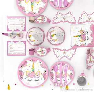 어린이 생일 파티 장식 90pcs 다채로운 유니콘 테마 식탁 식기 세트 냅킨 컵 식탁보 깃발 파티 선물 세트 팩