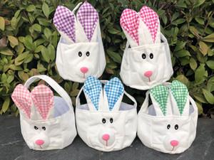 Cestas de Pascua DIY conejito de Pascua de la tela escocesa del bolso del cubo de la felpa del conejo de orejas largas y los regalos de la cesta de huevos de caramelo Niños totalizadores de almacenamiento Pascua Bolsas D1904