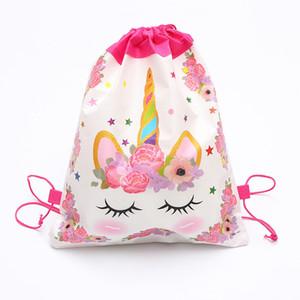 Cartoon Licorne Sac à cordonnet non tissé Sling Sacs à dos enfants licorne sac d'école Garçons Filles Party Pochette cadeaux d'anniversaire Meilleur