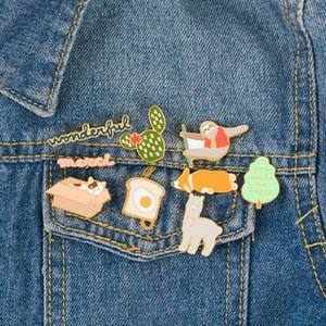 Emaye Broş Köpek Tembel Kedi Alpaka Yumuşak Cactus Ağacı Tost Yaka iğneler Giyim Rozet Karikatür Takı Hediye İçin Arkadaşları Çocuklar