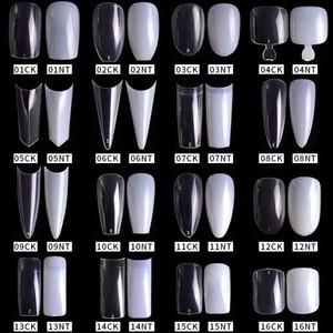 500pcs / pack naturel clair faux ongles en acrylique Conseils Full / Half couverture Conseils français de Sharp Cercueil Ballerina Faux ongles UV Outils de manucure Gel