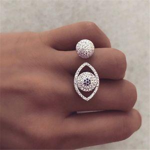 vecalon forme élégante Eey Promise Ring or blanc rempli Micro Pave diamant Soirée Anneaux bande de mariage pour les femmes Bijoux