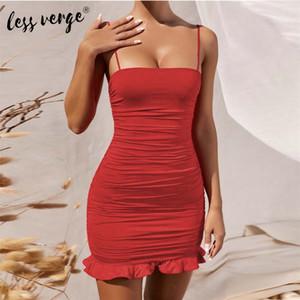Lessverge платье женщин Сплошной цвет платья Спагетти ремень Ками Bodycon мини сексуальный клуб