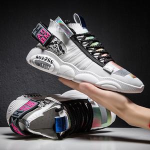 Weweya Красочные Stretch Носок Обувь Мужчины Повседневная Дышащие кроссовки мужчин Личностей Письмо Коренастый Тренеры Досуг Мужская обувь