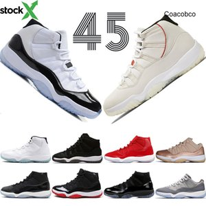 11 11s Platinum Tint Concord 45 Cap And Drop Men Jordon basketball Shoes Prom Night Gimme Red Bred Barons Space Jams Mens Sports Sneakers