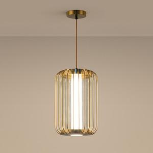 LED moderna del metallo del rame Birdcage vetro acrilico lampadario creativa del salone della casa Pendant Light Art Fixture PA0633