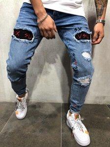 Lettre Skinny broderie pantalon bleu crayon Hiphop rue Jeans Holes Washed Mens Designer Jeans Printemps