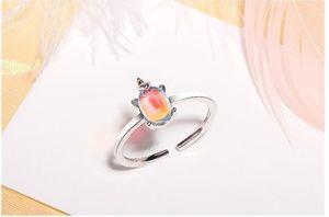 anello di schiuma Mermaid Arcobaleno Unicorn Orecchini Arcobaleno Unicorn anelli di apertura Moonstone dito indice coda anello sogno Aurora