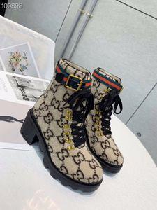 Bottes de femmes talon trapu Bottine en cuir chaussures Martin Imprimer Plateforme Cuir Désert lacé 1colors de démarrage avec boîte