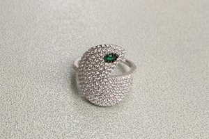 olhos verdes jóias Hot anel pac cheios de homens rodada zircão pac-man anel de dedo pac de prata esterlina 925 jóia