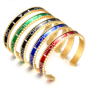 BC Jewelry Fashion Brazaletes Pulseras Vintage Plated Bangle Bracelet for Men Stainless Steel Cuff Speedometer Bracelet wholesale BC-127