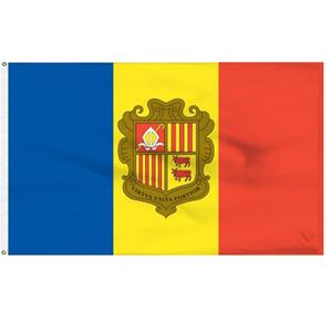 Bandera de Andorra 0.9x1.5m cualquier estilo cubierta exterior de poliéster de impresión de 3x5 pies de la bandera nacional de alta calidad de Andorra, el envío libre