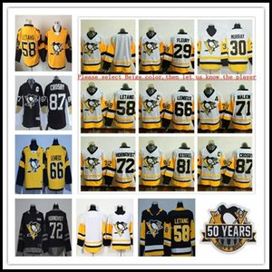 2017 champions de la Coupe Stanley Pittsburgh Penguins Hockey 87 Sidney Crosby 81 Phil Kessel 71 Evgeni Malkin 30 Matt Murray Fleury Sewn Ice Jersey