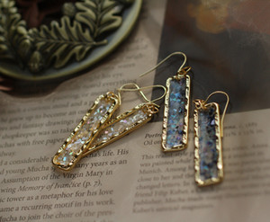 Cristal Art Boucles d'oreilles Flash Shard Bleu Blanc Translucide Rectangle Continental Oreille Crochets