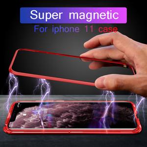 Lüks Manyetik Atraksiyon Metal Çerçeve Kılıf iphone 11 için Pro Max 9H temperli cam Arka Kapak Anti-fall iphone xr xs için Shell
