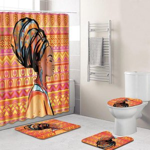 Shower Curtain Mat Set Africano Mulheres Cross-Border E-Commerce Hot WC Tapete personalizado Cabelo Mancha