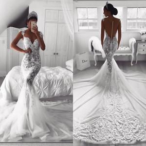 2020 merletto pieno sexy dell'annata di abiti da sposa Mermaid puro con scollo a V Illusione pulsante Indietro Corte dei treni tulle Abito da sposa Abiti da sposa su misura