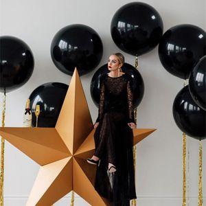 5adet 36inch GAINT Balon 90cm Rose Gold Siyah Beyaz Yuvarlak Lateks Balonlar Düğün Gelin Duş doğum günü partisi Balon Dekorasyon