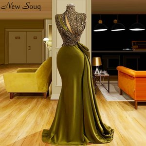Arabic High Neck Evening Dresses 2020 Sequined Beaded Top Floor Length Mermaid Party Dress Formal Dress