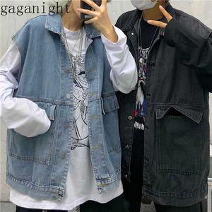 Gaganight Harajuku Vintage Kargo Kadınlar Erkekler Jeans Yelek BF Stil Kolsuz Casual Gevşek Artı boyutu Denim Yelek Yelek Dış Giyim