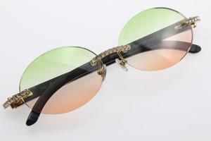 Fiore libero di corno di bufalo nero 3524012 Occhiali da sole unisex del progettista diamante verde vetri lente rotonda di vetro dell'uomo del progettista di marca della donna